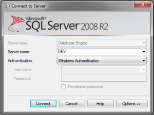 SQL Server 2008 Connect to Server Dialog showing an alias as the Server Name