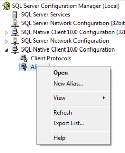 SQL Server 2008 Configuration Manager New Alias Menu