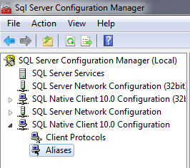 SQL Server 2008 Configuration Manager Aliases Node