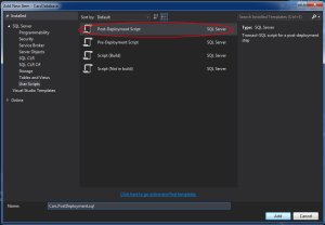 Image showing the add new script window with Post-Deployment script highlighted in Visual Studio 2013