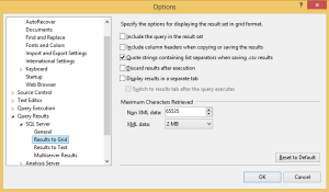 SQL Server Options Window