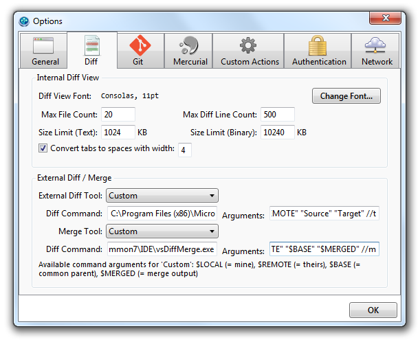 SourceTree options window showing Diff tab